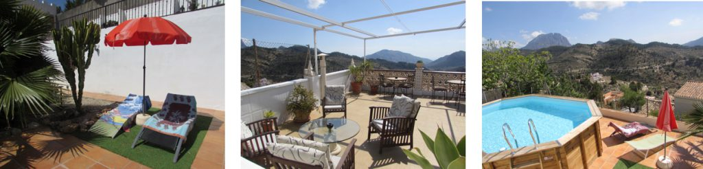Plenty of places to relax at Villa pico. Walking , Hiking ,Climbing  Costa Blanca. Accomodation for Climbers