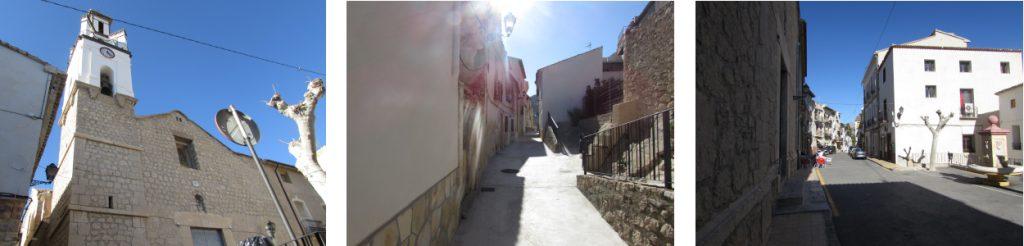 Sella een typisch Spaans dorp, Mooie katholieke kerk, Het plein/pilota veld.